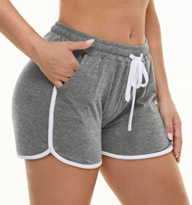 Aloodor Women's Athletic Shorts Workout Dolphin Short Running Yoga Fitness Pants Gym Exercise