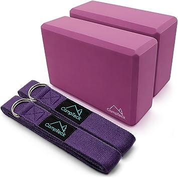 CampTeck Cinta Yoga Anillo D Ajustable Yoga Strap de Estiramiento & Yoga Bloque EVA Espuma Ligero Yoga Block Portátil para Pilates, Ejercicio físico, ...