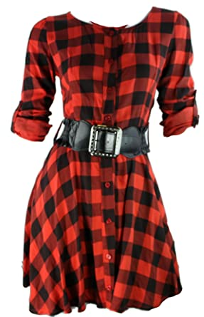 Kleid karo rot