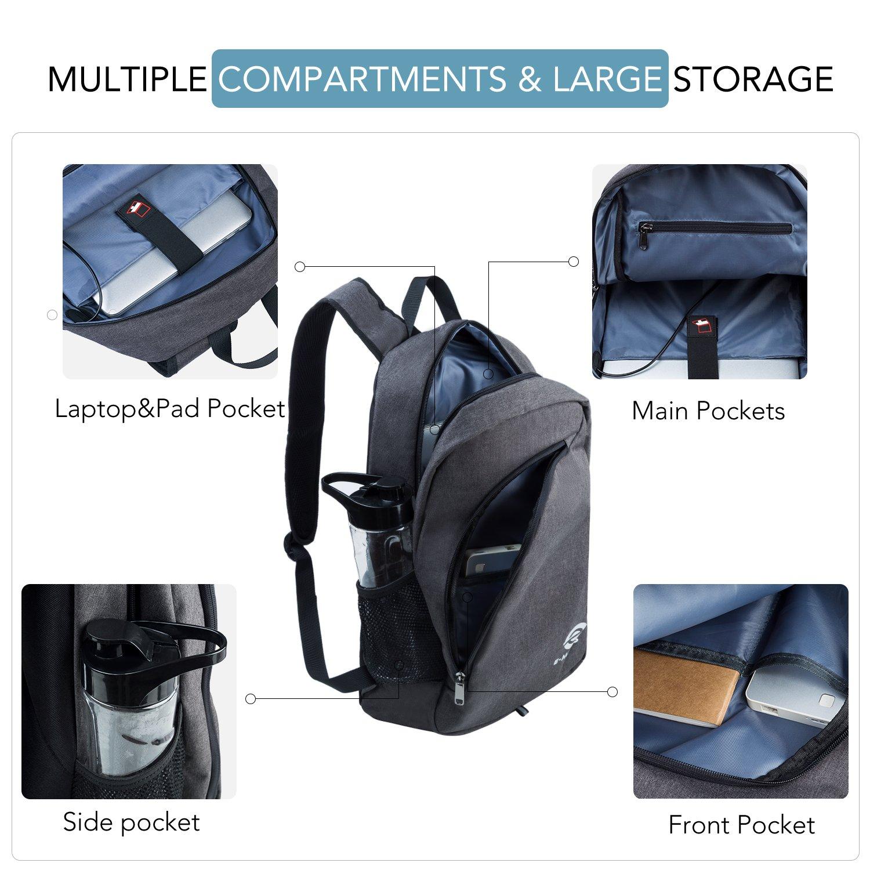 E-MANIS Mochila para portátiles, Mochila para Ordenador portatil 15.6 Pulgadas USB Mochila de Portátil Bolso Impermeable Bolsa Viajes para Colegio Viaje ...