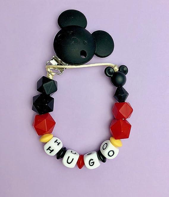 Magenta Kids - Chupetero personalizado Mickey, sujeta chupete elaborado con silicona de grado alimenticio, ideal para aliviar las molestias de la ...