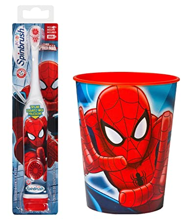 Amazon.com: Spiderman Toothbrush Bundle: 2 Items - Spinbrush Powered Toothbrush, Kids Character Rinse Cup: Beauty