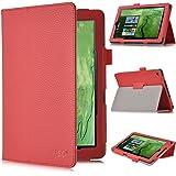Odys Windesk 9 Plus 3G Tablet Schutz, IVSO hochwertiges PU Leder Etui hülle Tasche Case - mit Standfunktion, ist für Odys Windesk 9 Plus 3G V2 8,9 Zoll Tablet-PC perfekt geeignet, Rot