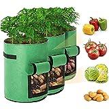 3 pcs Potato Grow Bag, 7 Gallon Aeration Waterproof Fabric Sweet Potato Planter, Vegetable Peanut Growing Box Bucket Pot…