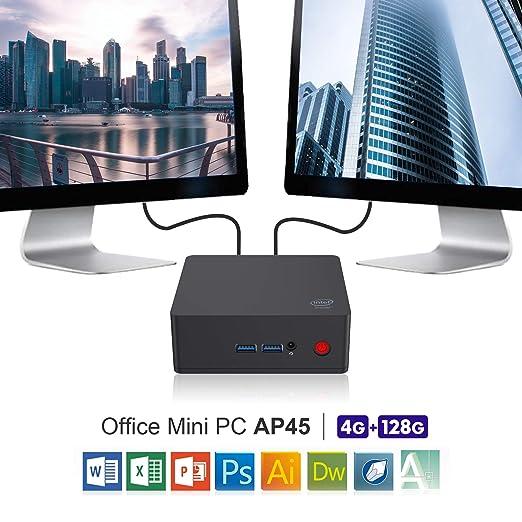 SeeKool AP34 PRO Mini PC, 4K HD H.265 Ordenador de sobremesa con Intel N3450 Procesador Windows 10(64-bit), 6GB RAM, 64GB eMMC ROM, 1000Mbps LAN /Dual HDMI ...