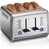 Hamilton Beach Digital 4 Slice Extra Wide Slot Stainless Steel Toaster with Bagel & Defrost Settings, Toast Boost, Slide…