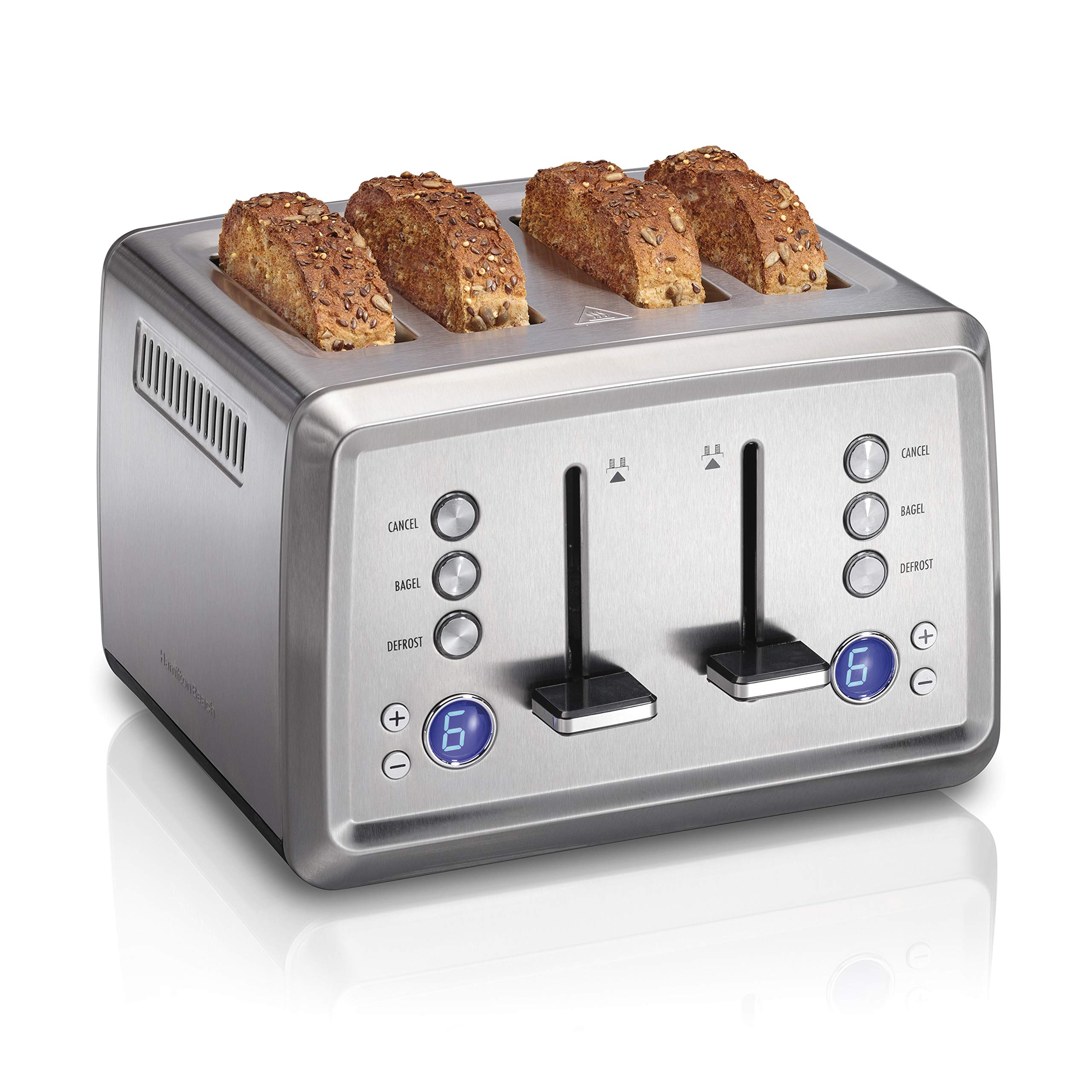 Hamilton Beach Digital 4 Slice Extra-Wide Slot Stainless Steel Toaster with Bagel & Defrost Settings, Toast Boost, Slide-Out Crumb Tray, Auto-Shutoff and Cancel Button (24796) by Hamilton Beach
