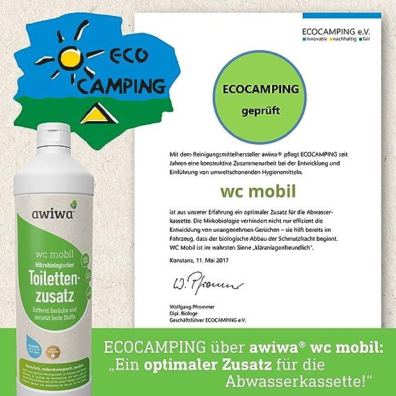 awiwa Tapa de inodoro móvil bio adicional sanitaria líquido para caravana Caravana Caravan Barco. Certificado adicional para camping de WC Química ...