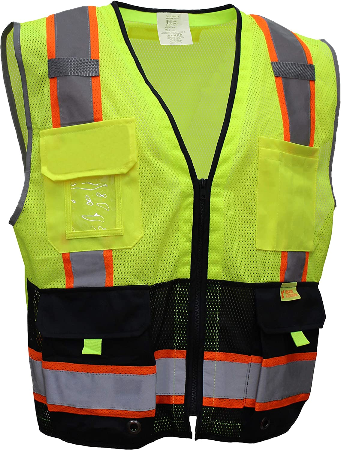 RK Safety P5512 Class 2 High Visible Two Tone Reflective Strips Breathable Mesh Vest, Pockets Harness D-Ring Pass Thru, ANSI/ISEA, Construction Motorcycle Traffic Emergency (Neon Lime)