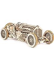 UGears U-9 Grand Prix Car Wooden Model (DIY Building Kit) Hand-Crank Powered Vehicle w/ Working Pistons, Wheels, Shocks | Functional, Authentic Racing Design