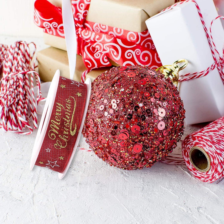 Confezioni Regalo Decorazioni per Feste rosso Nastro di organza di Natale 2,5 cm x 20m Nastro Glitterato a Filo Metallico con Fiocco di Neve con Bobina per Decorazione Natalizia