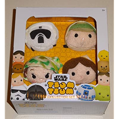 Tsum Tsum Disney Star Wars Plush Collector Set # 3 (4 Pack) Endor/Return of The Jedi ROTJ with Luke Skywalker, Han Solo, Princess Leia & Scout Trooper / Imperial Biker Scout: Toys & Games