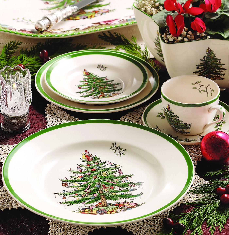 Amazon.com Spode Christmas Tree Salad Plates Set of 4 Spode Christmas Tree China Kitchen \u0026 Dining & Amazon.com: Spode Christmas Tree Salad Plates Set of 4: Spode ...