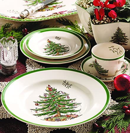 Amazon.com: Spode Christmas Tree 12-Piece Dinnerware Set, Service ...