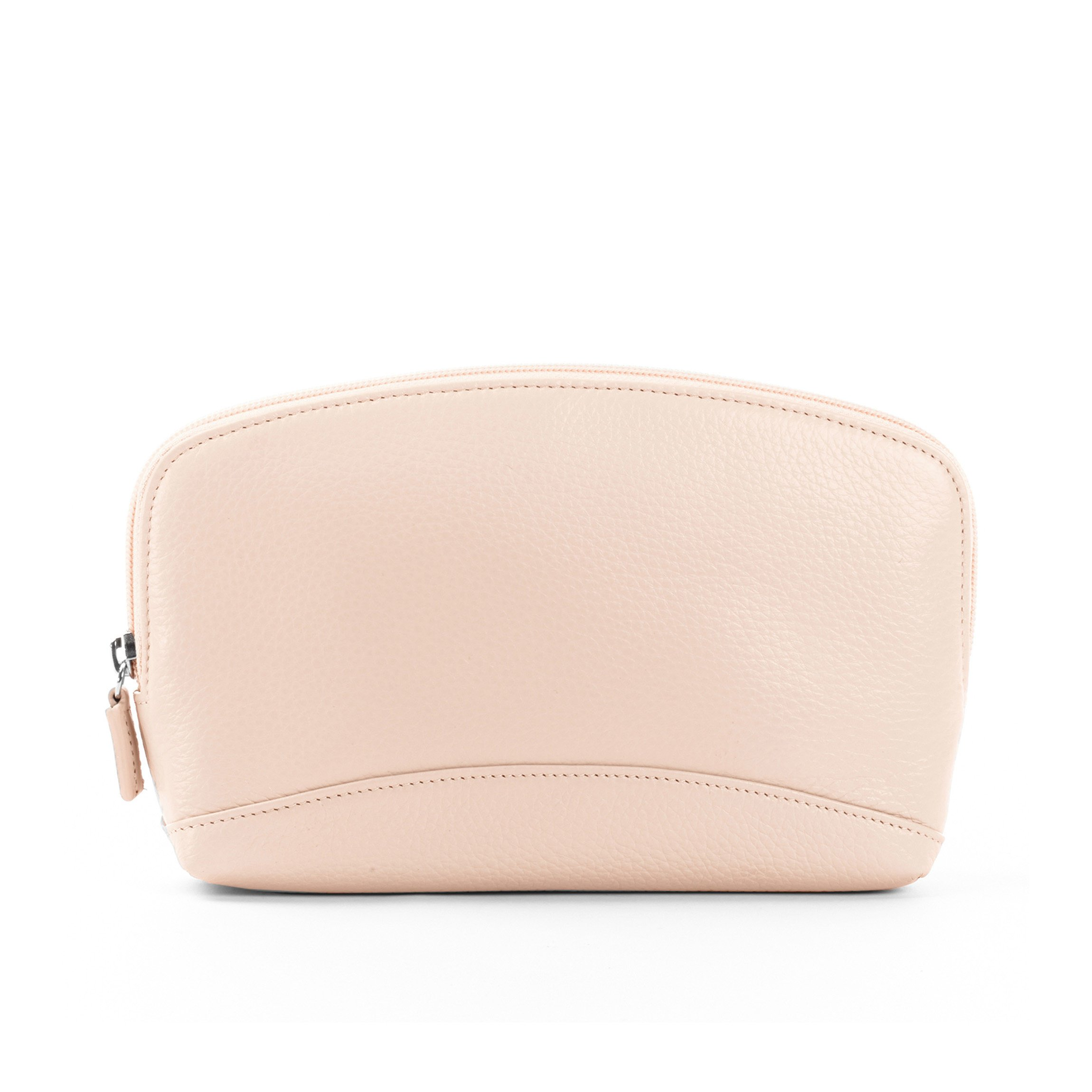 Large Cosmetic Bag - Full Grain Leather Leather - Rose (pink)