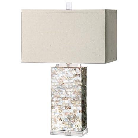 Layered Capiz Shell Table Lamp Coastal Beach House Amazon Com