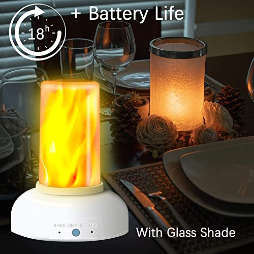 LED Flame Torch Table Lamp – Gift Package Rechargeable Modern Cracked Style Glass Table Lamps for Living Room, Bedroom, Night Table Includes Timer Remote