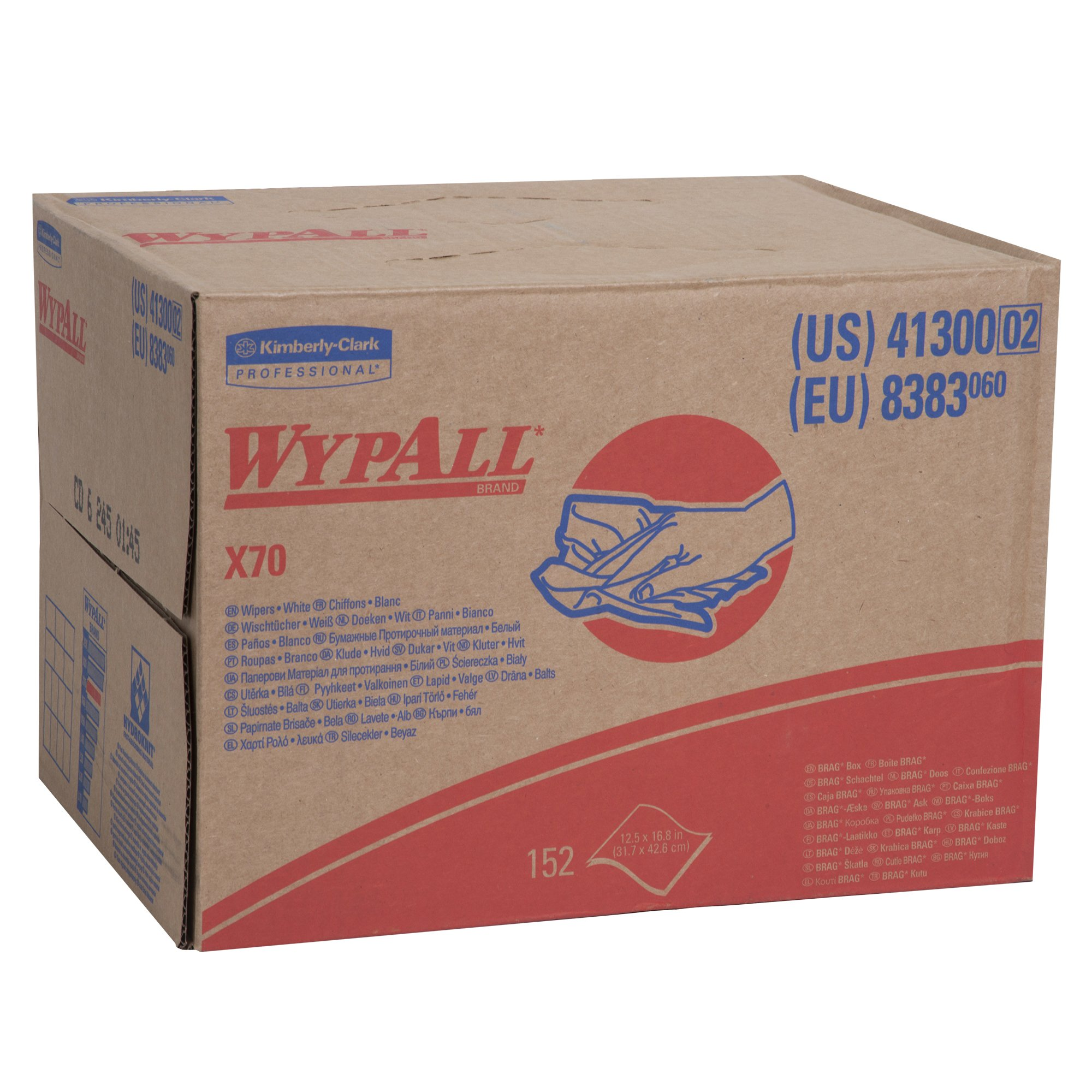 WypAll X70 Extended Use Reusable Cloths (41300), Brag Box, Long Lasting Performance, White, 1 Box, 152 Sheets