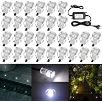 QACA Mini Eclairage pour Patio DC 12V Etanche IP67 Luminaires Extérieur pour Terrasse Enterré Plafonnier, LED Lampe Déco Pour Chemin Bassin Piscine (Lot de 30, Blanc froid)