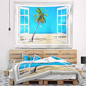 Designart 'Open Window to Beach with Palm' Seashore Tapestry Blanket Décor Wall Art for Home and Office Large: 60 in. x 50 in