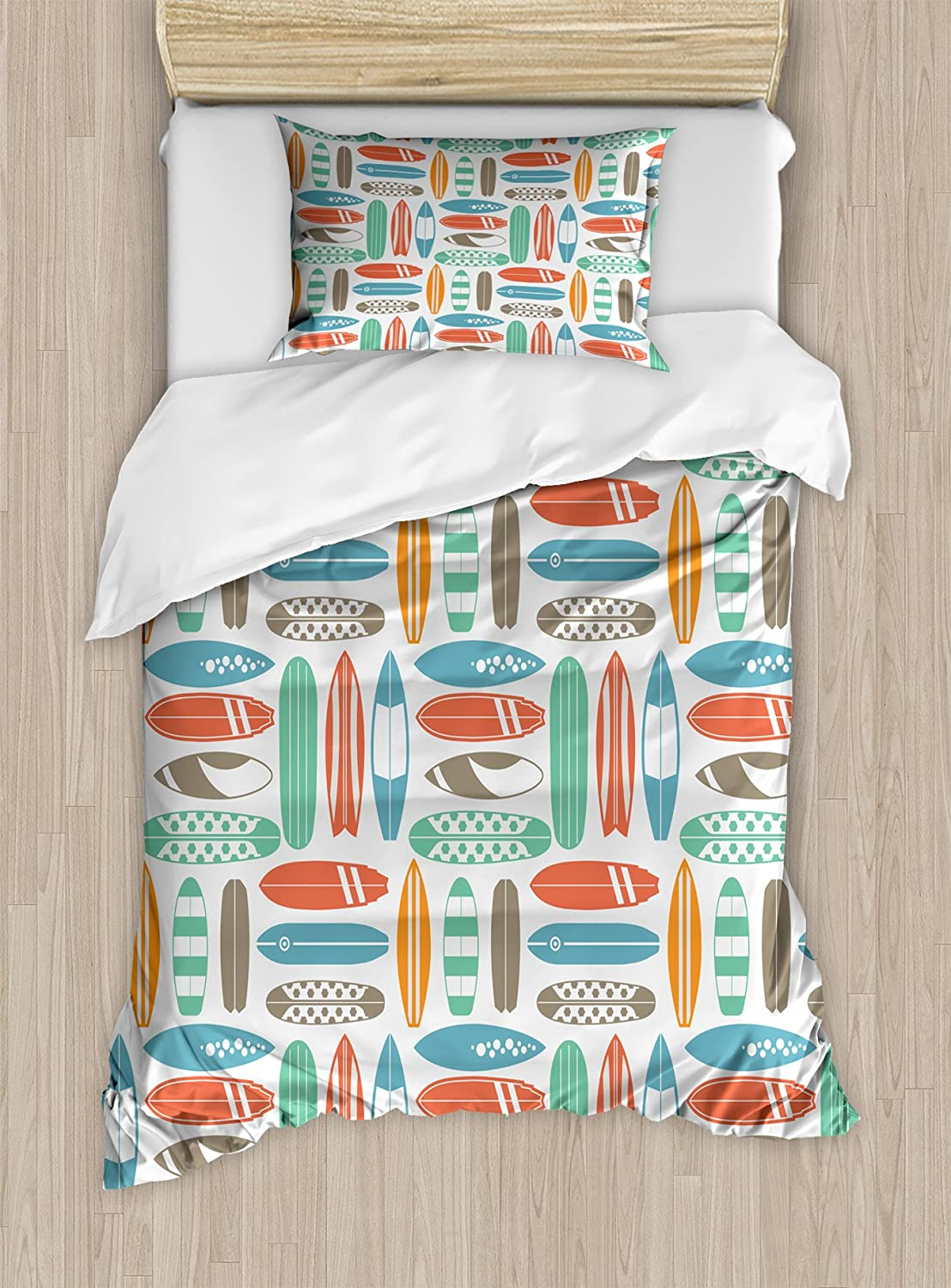 Ambesonne Surfboard Duvet Cover Set, Colorful Surfing Sea Pattern with Summer Travel Illustration in Retro Colors, Decorative 2 Piece Bedding Set with 1 Pillow Sham, Twin Size, Coral Orange