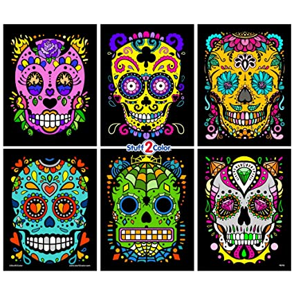 Amazon.com: Stuff2Color Sugar Skulls Fuzzy Velvet Coloring Posters ...