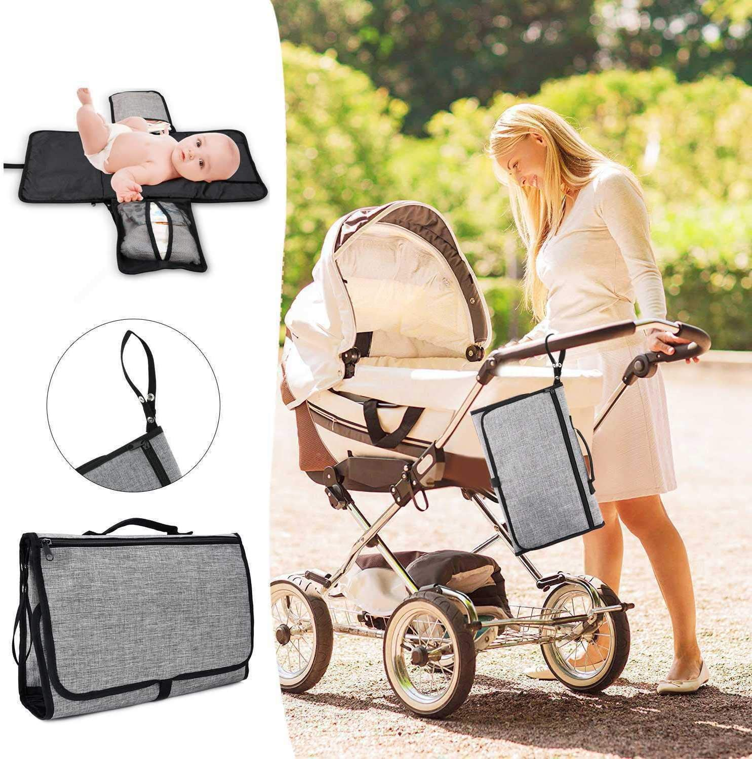 PQZATX Portable Baby Diaper Changing Pad Detachable Waterproof Baby Travel Changing Mat Station with Head Cushion Bag Storage