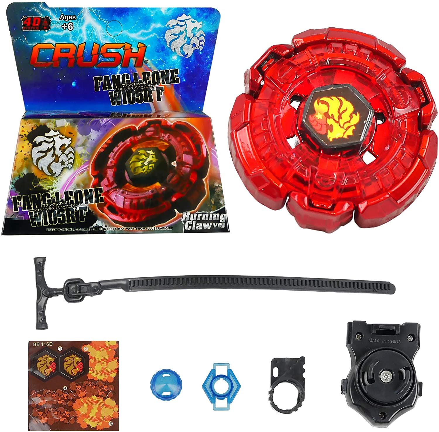 Crush Red Fang Leone W105R2F Burning Claw Metal Fusion Battling Top | Launcher Included