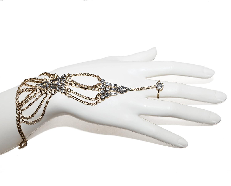 Lux Accessories Chain Rhinestone Handchain Bracelet Ring Hand Chain B127365-1-B90