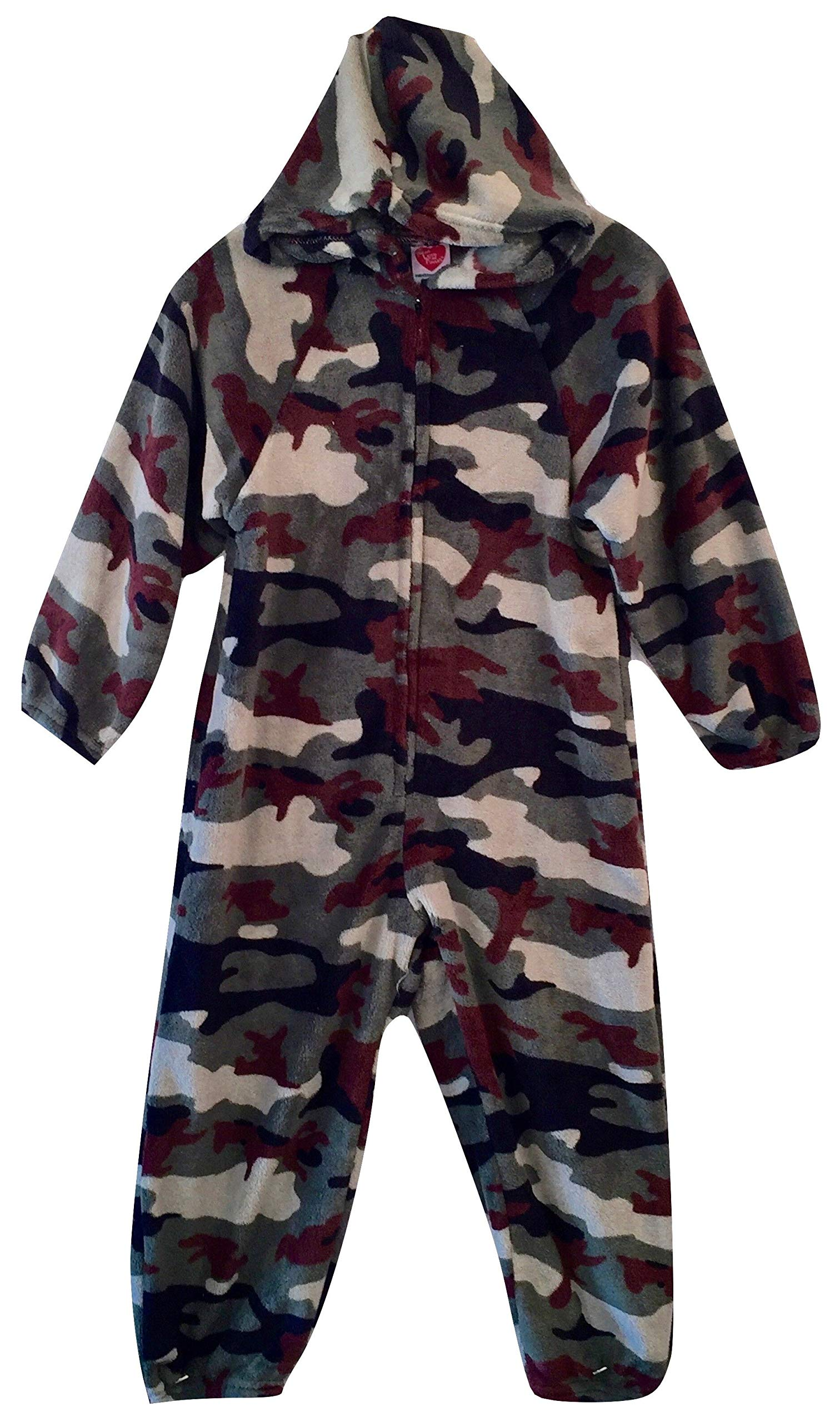 Made with Love and Kisses Kid's Fuzzy Plush Jumpsuit/One Piece Pajama with Hood - Green Camo - 12/14