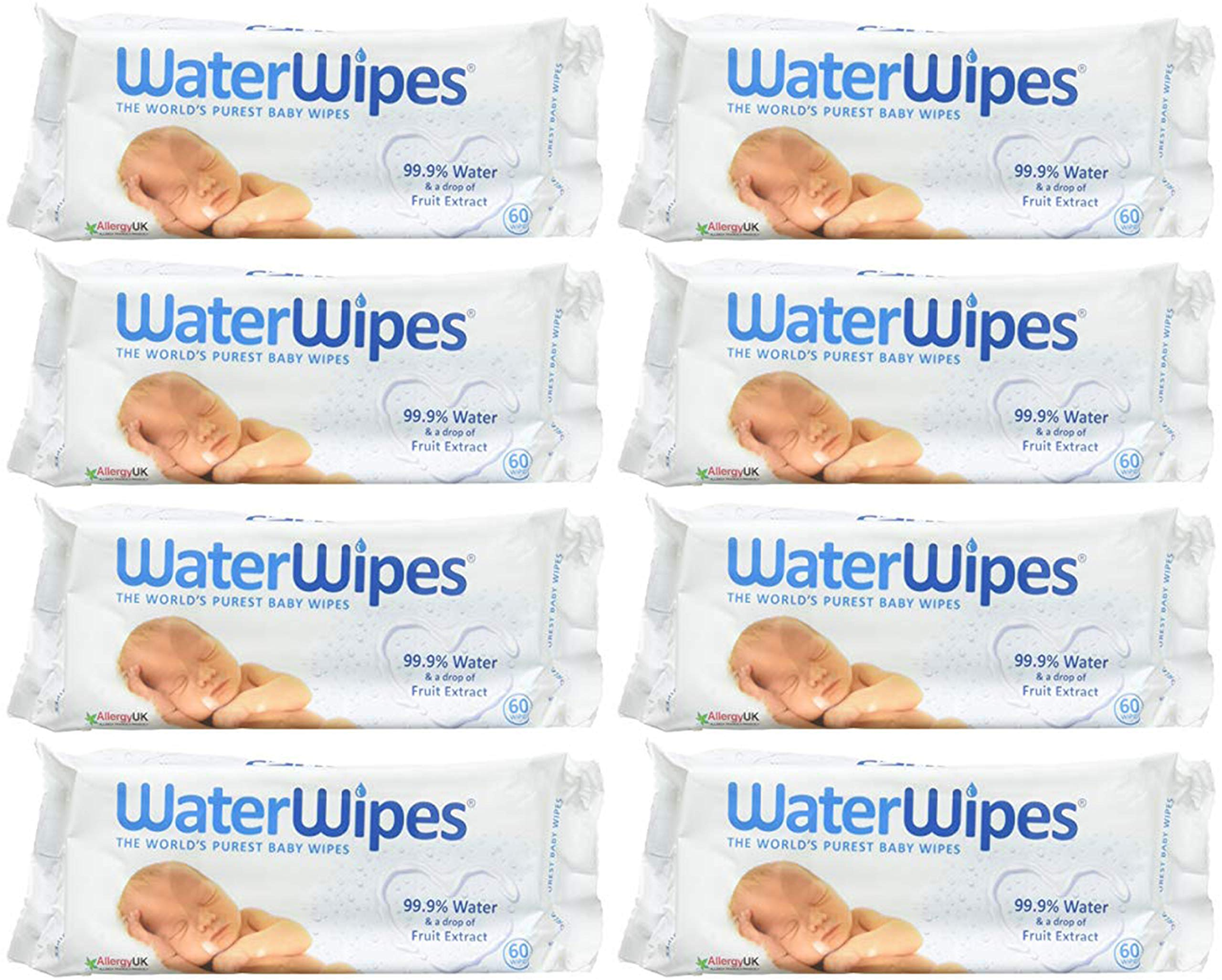 WaterWipes Sensitive Baby Wipes, Unscented, 480 Count (8 Packs of 60 Count) by WaterWipes