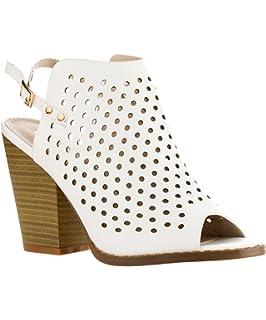512622dd6d9 ROF Women s Cut Out Design Velcro Closure Open Toe Mule Blocked Heel Sandals  Ankle Booties