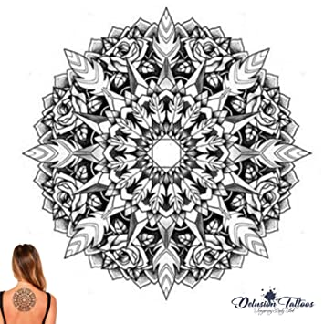 307743f45 Temporary Tattoo, Realistic, Transfer, Sticker, Mandala, Rose, Henna, Tribal