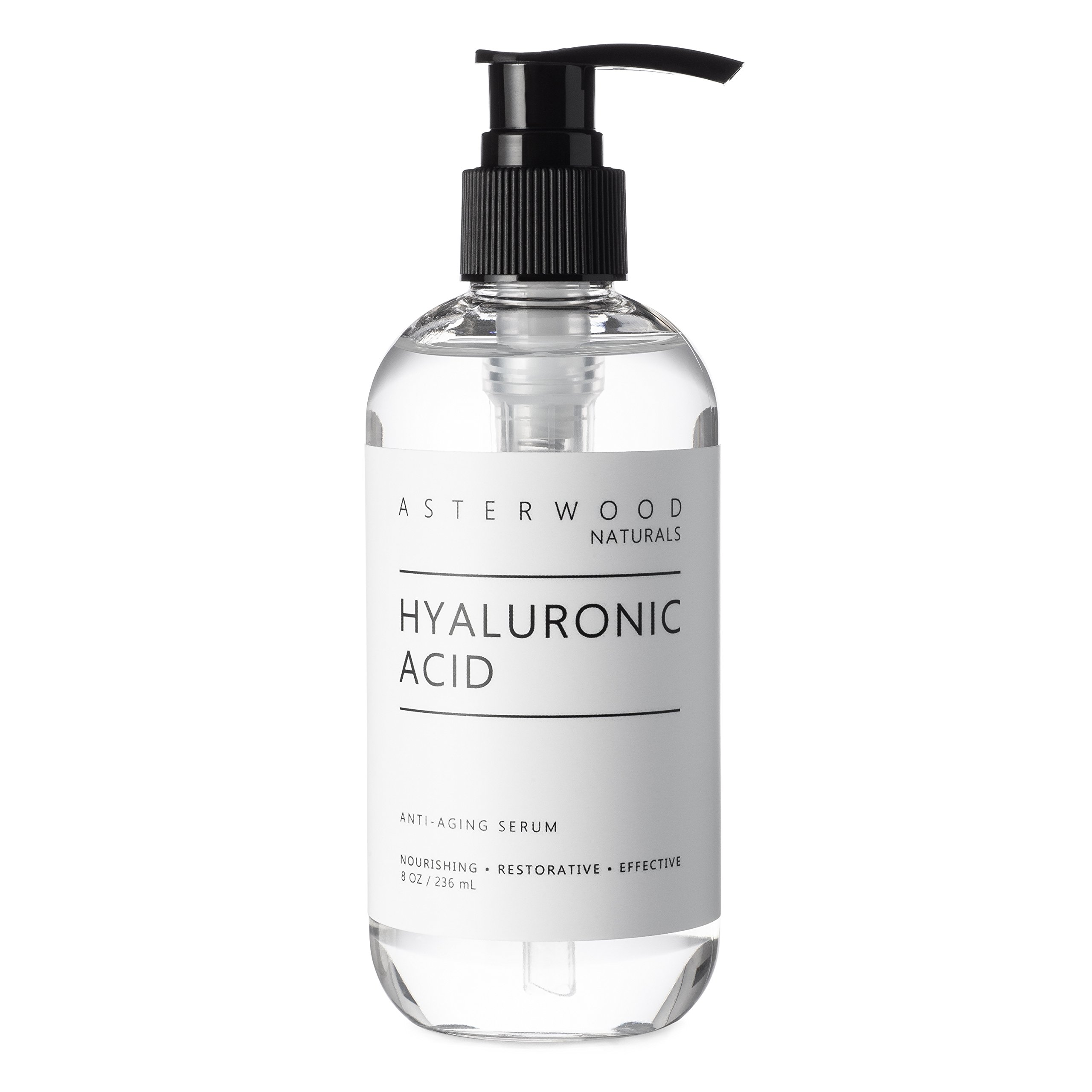 Hyaluronic Acid Serum 8 oz, 100% Pure Organic HA, Anti Aging, Anti Wrinkle, Original Face Moisturizer for Dry Skin and Fine Lines, Leaves Skin Full and Plump ASTERWOOD NATURALS Pump Bottle by ASTERWOOD NATURALS