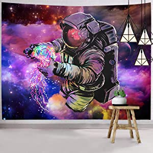 Hexagram Trippy Astronaut Tapestry Wall Hanging Fantasy Galaxy Tapestry Hippie Wall Art Colorful Space Wall Tapestry Home Decor