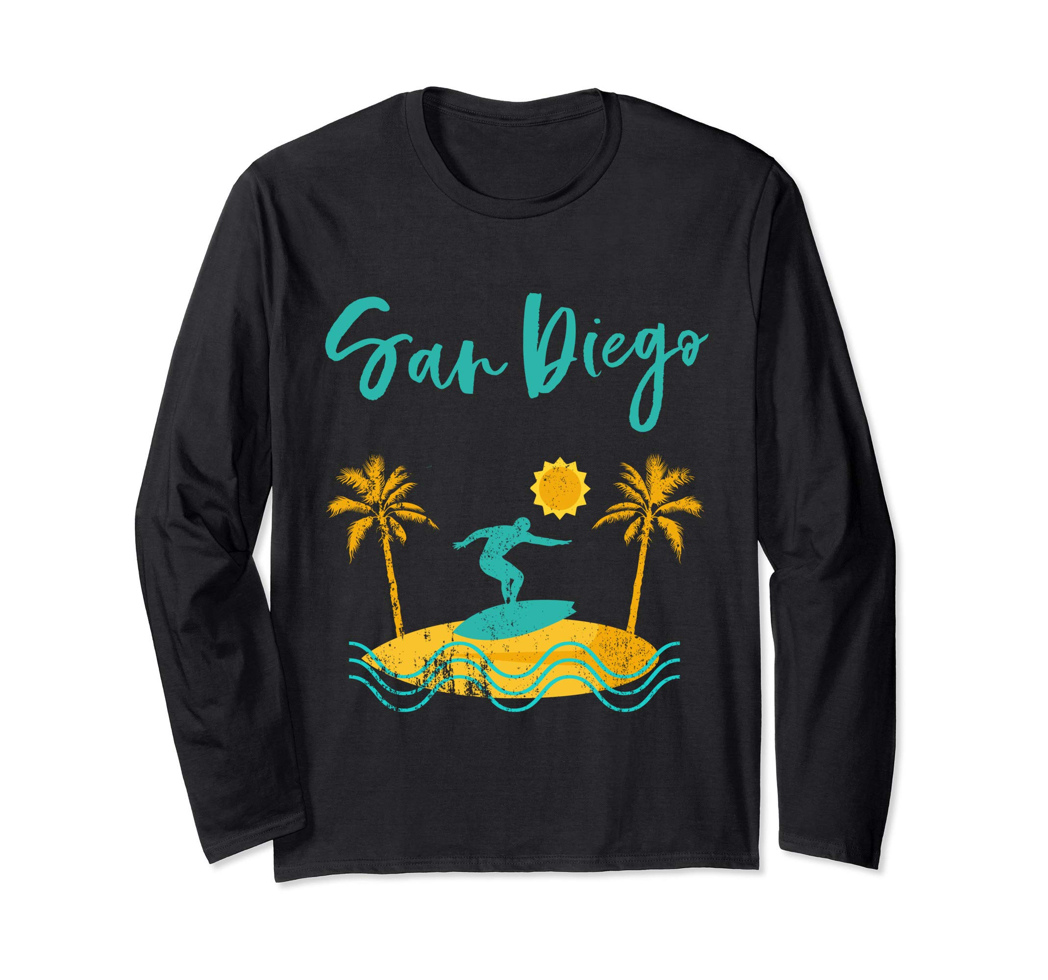 Vintage Surf San Diego California 70s 80s Retro San Diego Long Sleeve T-Shirt by Retro Santa Cruz Vintage Surf Tee