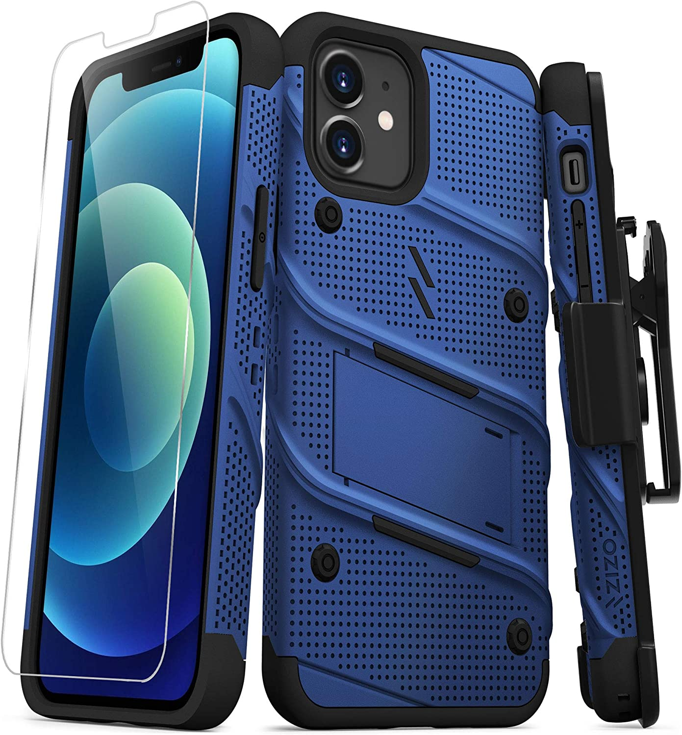 ZIZO Bolt Series for iPhone 12 / iPhone 12 Pro Case with Screen Protector Kickstand Holster Lanyard - Blue & Black