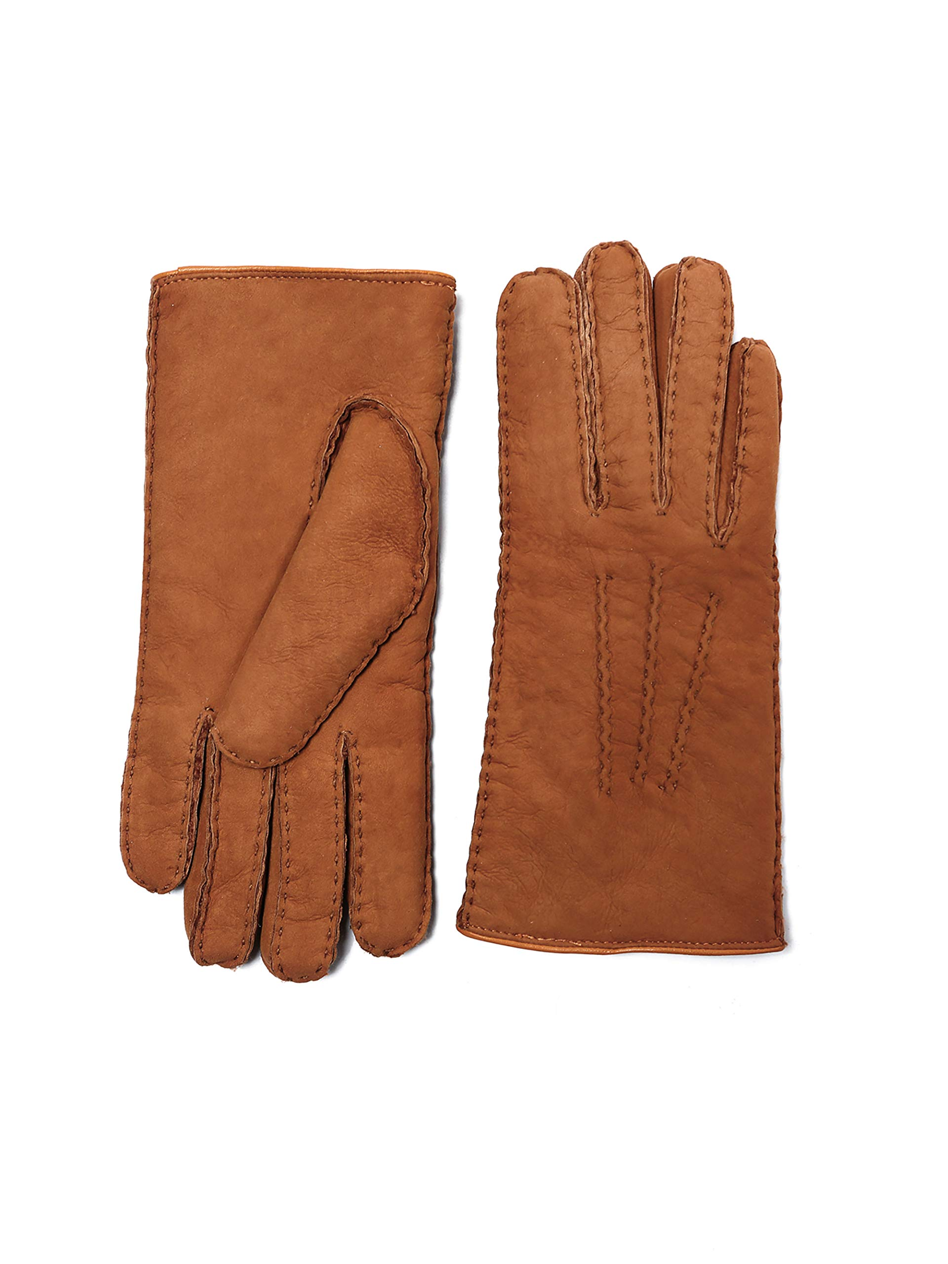 YISEVEN Women's Curly Shearling Leather Gloves Luxury New Zealand Lambskin Handmade Sheep Hair Fur Furry Lined Warm Sherpa Wool Lining Cuffs for Winter Cold Dress Driving Work Xmas Gifts, Orange S