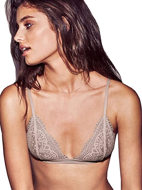 4626d8afc4 Victoria s Secret Gray Crochet Lace Triangle Bralette Bra Large at ...