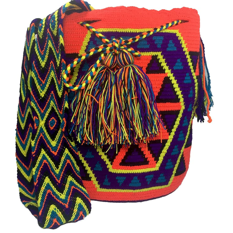Mochila Wayuu Bag 100% Ethnic Hand Woven Go-anywhere Large Tote Hand Made Bag -Multicolor