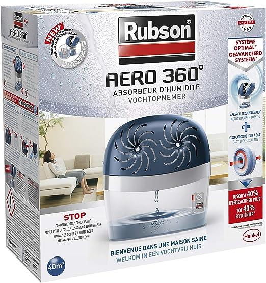 Rubson AERO 360º Déshumidificateur d\'air pour la maison, absorbeur  d\'humidité et anti odeurs pour pièces de 40 m², inclus 2 recharges neutres  de 450 g