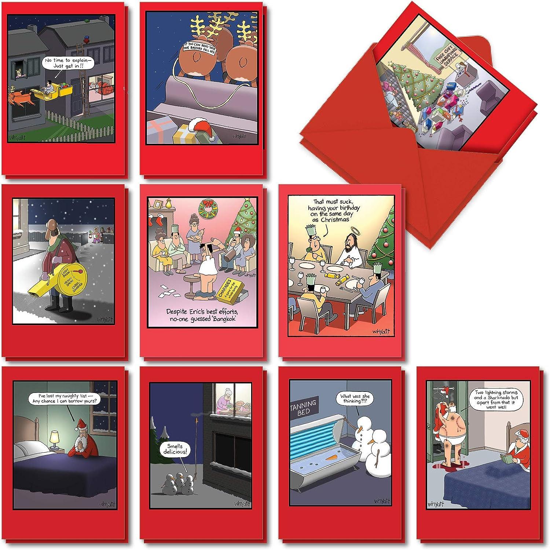NobleWorks - 20 Funny Christmas Cards Assorted (10 Designs, 2 Each) - Boxed Adult Christmas Greetings, Bulk Holiday Notecard Humor - Whyatt's World Christmas AC5635XSG-B2x10