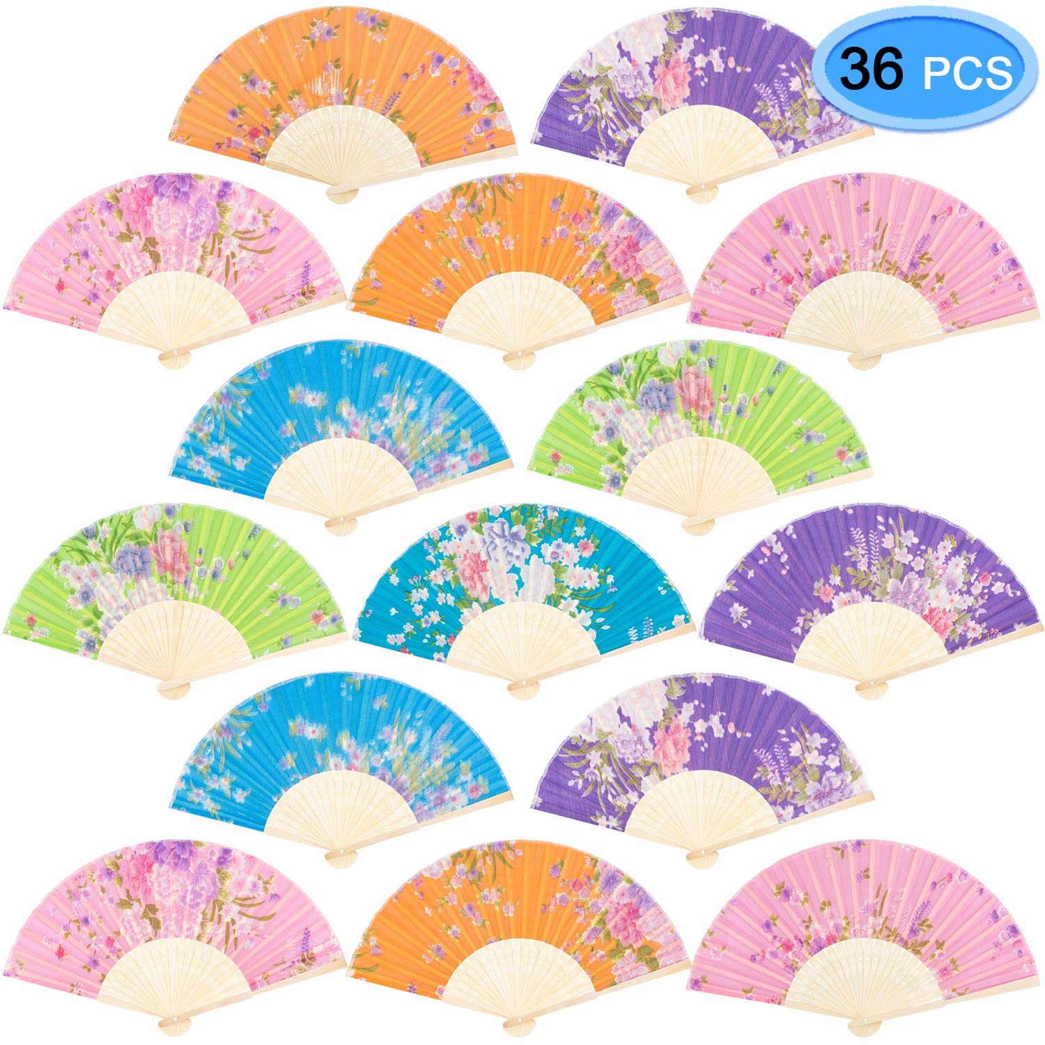 EAONE 36 Pcs Hand Folding Fan, Silk Floral Folding Fan, Vintage Handheld Fan, Chinese Style Fabric Folding Fan with Bamboo Rib for Wedding Dancing Party (Random Color) by EAONE