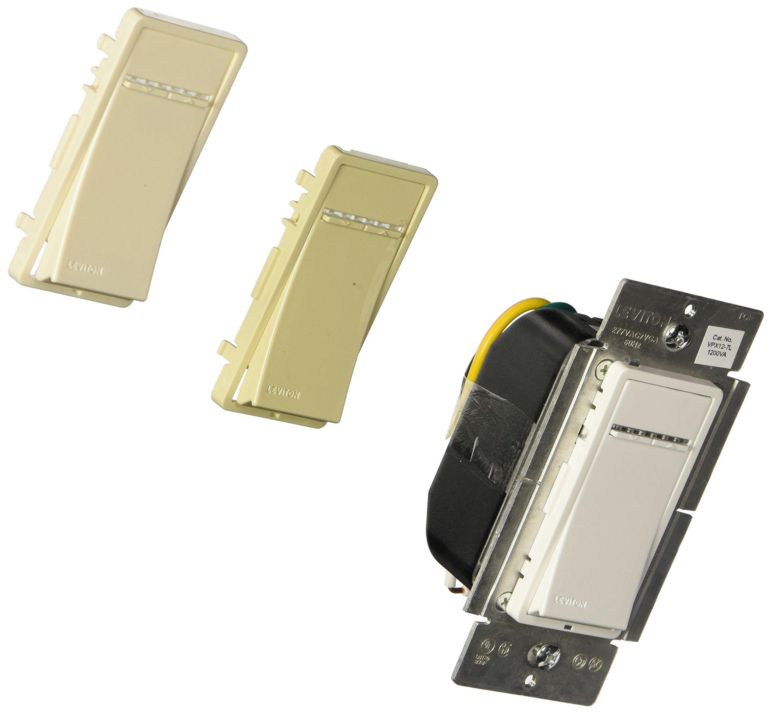 Leviton VPX12-7LZ, Vizia + Digital 1200VA Fluorescent Dimmer for Mark 10 Powerline Ballasts, Single Pole and 3-Way, White/Ivory/Light Almond