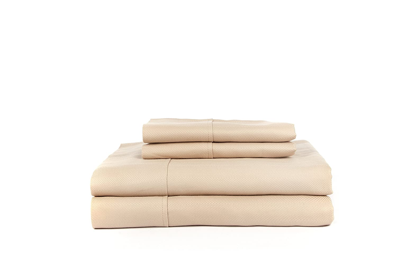 HN International Group Knightsbridge 600 Thread Count Cotton Set with Solid  Hem, Extra Soft-Breathable & Cool Sheets-Hypoallergenic, Queen, Taupe