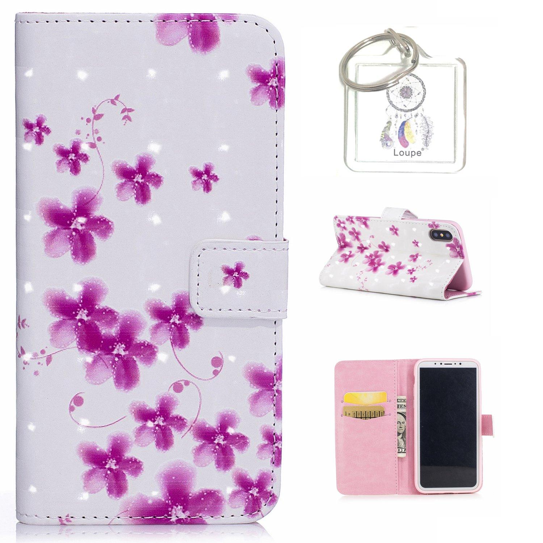 für iPhone X Hülle, Retro 3D Muster PU Leder Hülle Wallet Case Folio Schutzhülle in mit Standfunktion Karteneinschub und Etui Flip Case Schutzhüllen +Schlüsselanhänger (P) (1) für iPhone X Hülle Lohpe