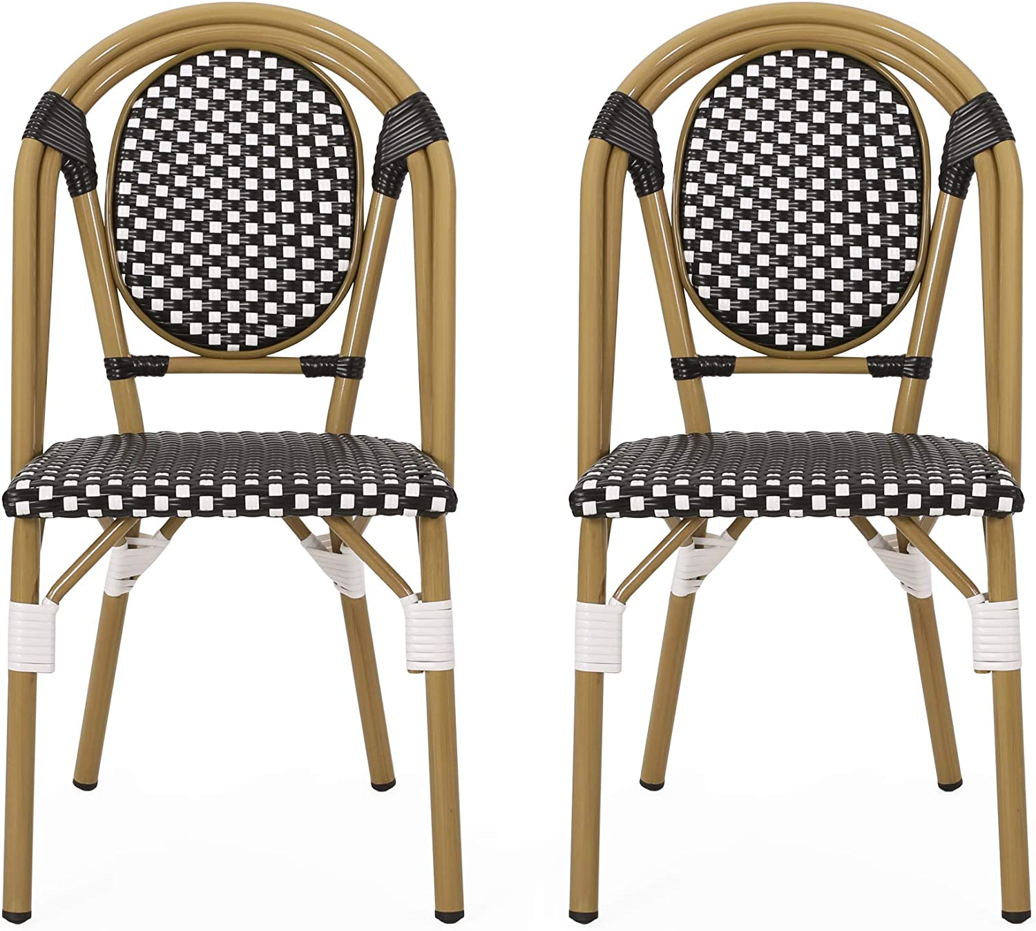 Amazon Com Christopher Knight Home 313247 Gwendolyn Outdoor French Bistro Chairs Set Of 2 Black White Bamboo Print Finish Garden Outdoor
