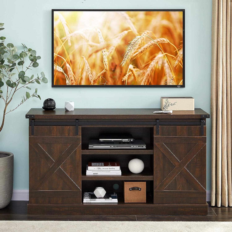 "Hooseng Farmhouse Wood Stand Entertainment Center TVs Console Table-Sliding Barn Doors   54"" L x 15"" W x 30"" H   Multi-Tier Adjustable Shelves, 6 Wire Holes, Sawcut Espresso"