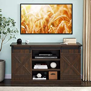 "Hooseng Farmhouse Wood Stand Entertainment Center TVs Console Table-Sliding Barn Doors | 54"" L x 15"" W x 30"" H 