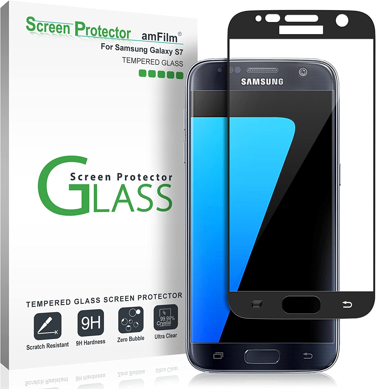 Amazon Com Amfilm Glass Screen Protector For Galaxy S7 Tempered Glass Dot Matrix 3d Curved With Black Border